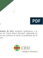 Taller de Marca Personal para Estudiantes y Licenciados (CEU)