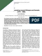 U. S. Foreign Policymaking Toward Ethiopia and Somalia
