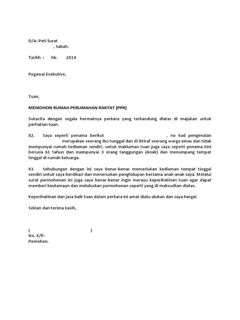 Contoh Surat Rasmi Permohonan Tinggal Di Asrama - Woodwork