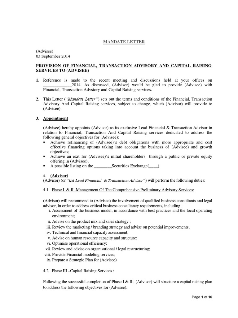 Sample mandate letter arbitration expense mitanshu Choice Image