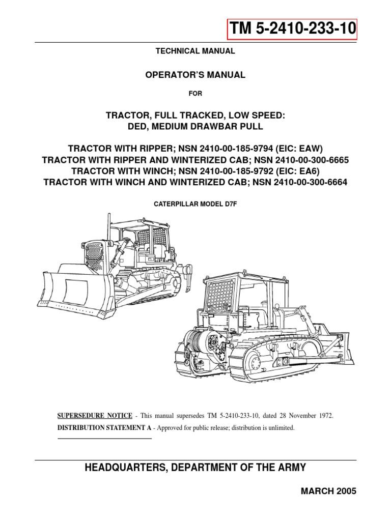 caterpillar model d7f operators manual   internal combustion engine    tractor