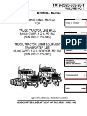 Freightliner With a DDECII&III 1000 Pages TM-9-2320-363!20!1