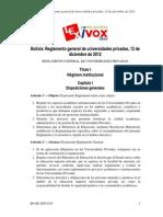 Reglamento General de Universidades Privadas, 12 de Diciembre de 2012