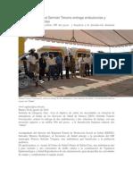 28-08-14 agenciajm Secretario de Salud Germán Tenorio entrega ambulancias y vehículos en Juchitán