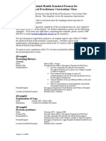 Standard Format for Medical Practitioner CV - Updated