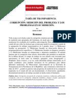 Secretaría de Transparencia Corrupción Medición Del Problema y Los Problemas en Su Medición