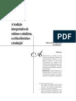 OLIVEIRA, Maria Clara Castelloes de - A Tradição Interpretativa de Rabinos e Cabalistas, A Critica Literaria e a Traducao