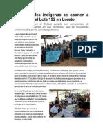 Comunidades Indígenas Se Oponen a Licitación Del Lote 192 en Loreto