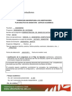 Formato Plan Analitico Administracion Base de Datos
