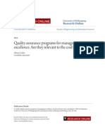 Quality Assurance Programs for Management Excellence. Are They Relevant to the Coal Industry
