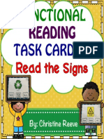 Functional Reading Task Cards Read the Signs Specialed Autism