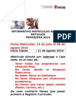 Informativo Matriculas Primavera 2014