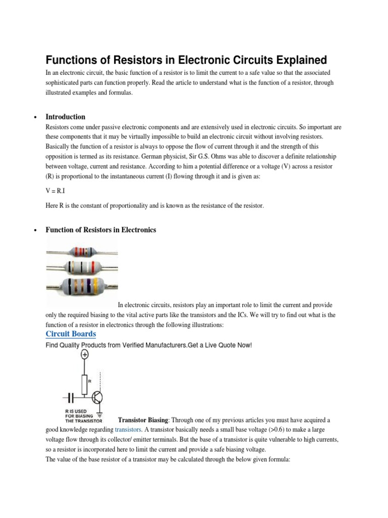 Functions Of Resistors In Electronic Circuits Explained What Are Circuit Resistor