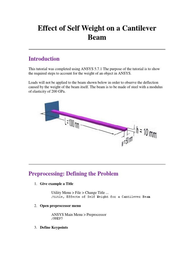 Effect of Self Weight on a Cantilever Beam | Beam (Structure