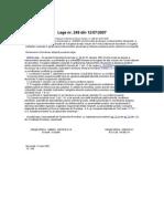 Legea Nr 249 din 2007