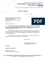Sample NOA for Negotiated Procurement (Small Value)