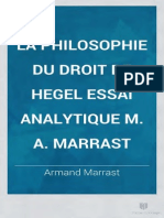 Marrast La Philosophie Du Droit de Hegel Essai Analytique