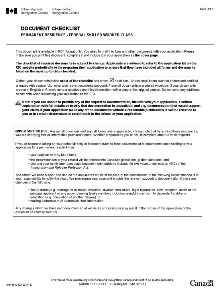 Canada Travel Visa Money Order - Legal documents canada