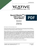 Sound Card - Sound Blaster X-fi Sb0679 Rev1.0