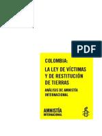 Amnistia Colombia-Ley Victimas y Restitucion Tierras-Analisis AI