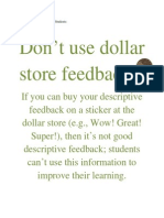 A Note About Feedback for Students
