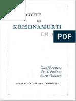 A l'Écoute de Krishnamurti en 1966