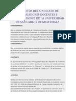 Estatutos Del Sindicato de Trabajadores Docentes e Investigadores de La Universidad de San Carlos de Guatemala