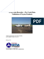 NHTSA-Toyota EDR Pre-crash Validation