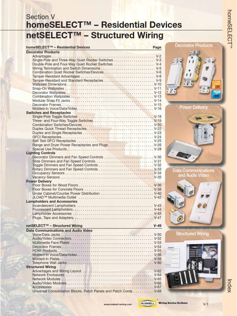 Catalogo Home Select Hubbell Ac Power Plugs And Sockets Advantages Of Structured Wiring Electrical Connector