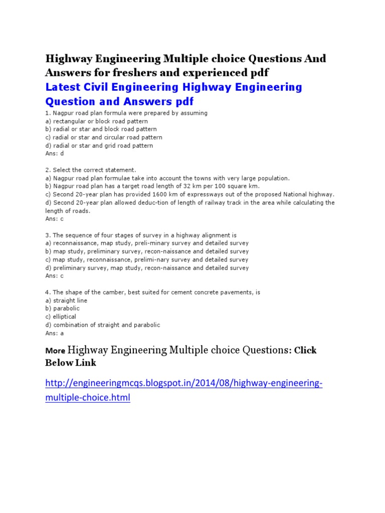 Highway Engineering Multiple Choice Questions