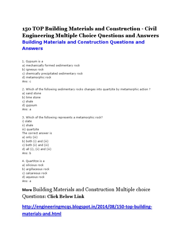 building materials and construction multiple choice questions