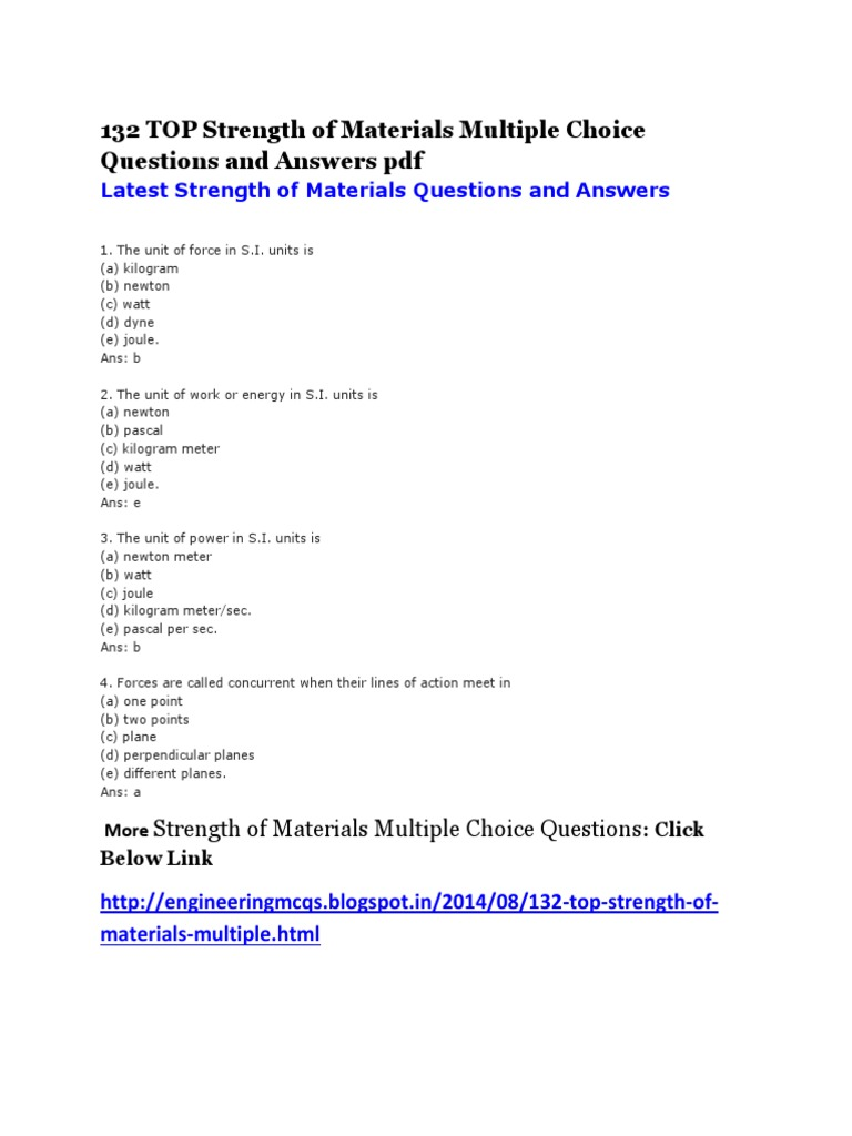 132 TOP Strength of Materials Multiple Choice Questions and Answers pdf