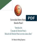 1. Introducción Concepto de Derecho Penal y la relación del Derecho Penal con otras ramas afines