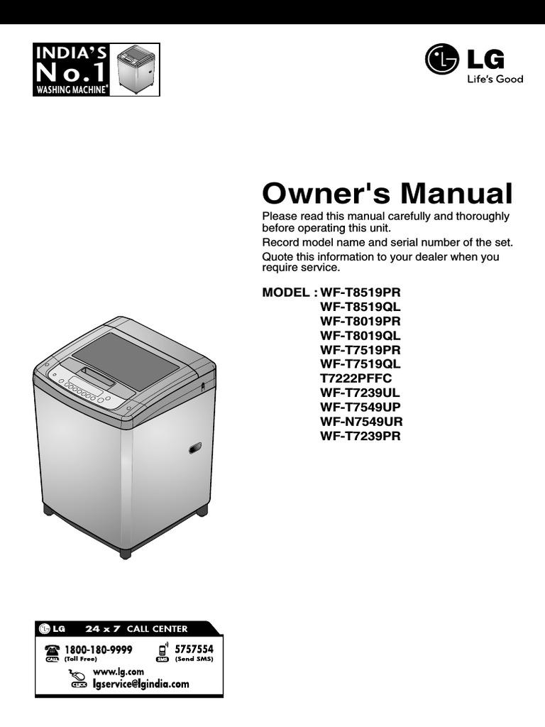 lg fuzzy logic user manual washing machine laundry rh scribd com lg washer wm2301hw service manual lg washer owners manuals