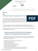 Alternative English Language Tests for Visa Applicants