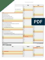 2014 Calendar Portrait 4 Pages Letter
