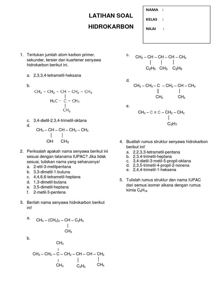 61654554 Latihan Soal Hidrokarbon Docx