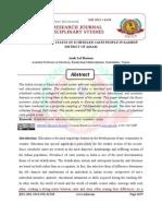 SOCIO- ECONOMIC STATUS OF SCHEDULED CASTE PEOPLE IN KAMRUP  DISTRICT OF ASSAM