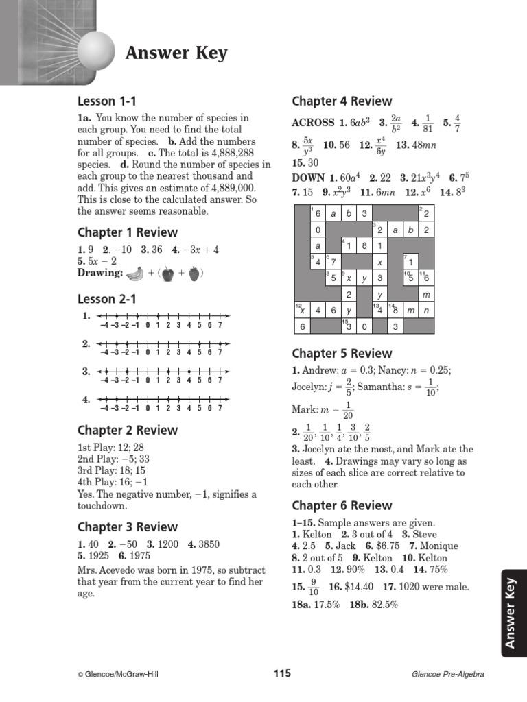 Glencoe Pre Algebra Study Guide Answer Key – Glencoe Algebra 1 Worksheet Answers