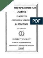 BA Economics VISem Core Course Economics Business Finance