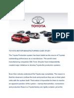 Toyota Motor Manufacturing Case Study