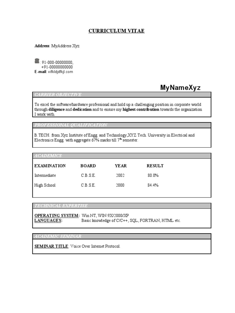 100 Resume Format For Freshers Bca Cover Letter Sample For