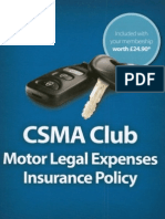 CSMA Motor Legal Expenses Policy