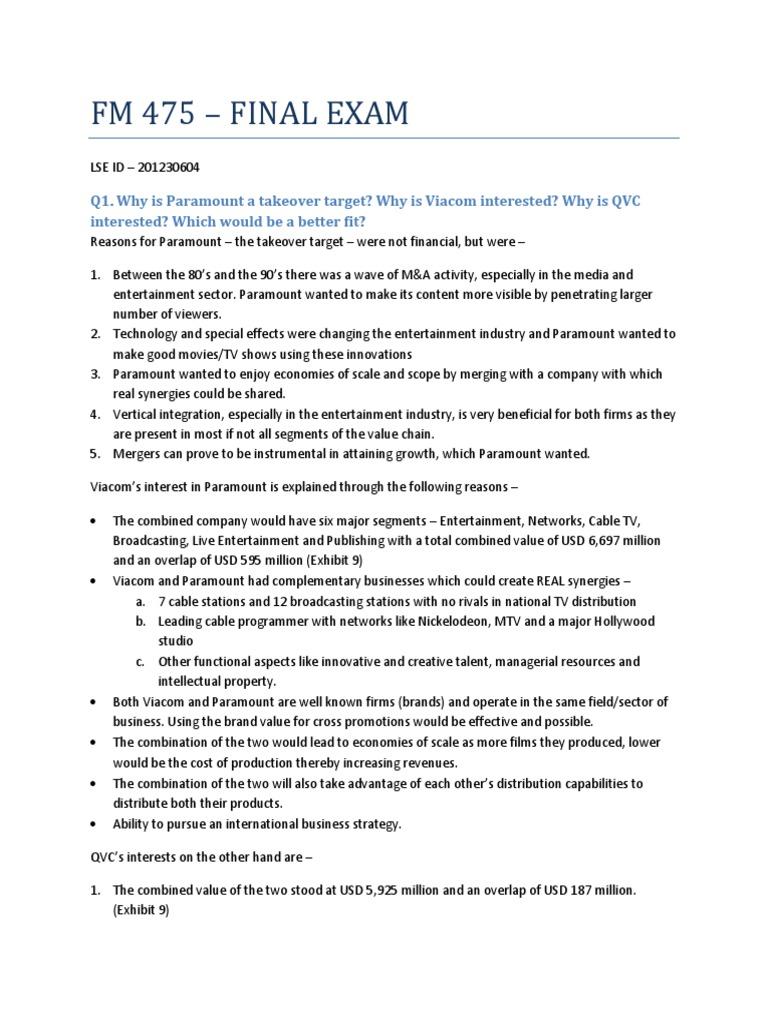 201230604 - FM 475 Final Exam | Discounted Cash Flow