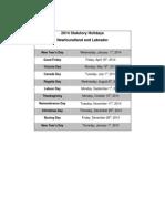 2014 Statutory Holiday Schedule