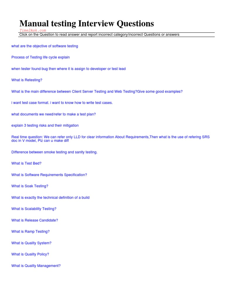 Download Manual Testing Interview Questions PDF | Software Testing