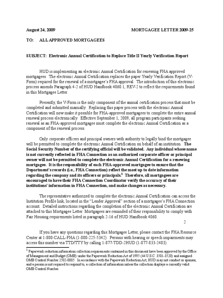 Hud Fha Mortgagee Letter Ml 2009 25 Federal Housing Administration