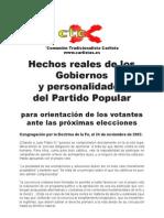 Hechos reales del PP para orientación votantes