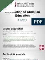 educ310- intro to christian education 1