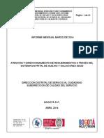 Informe General Entidades del D.C. SDQS - Marzo 2014